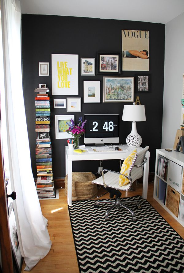 Editor @Alaina Marie Kaczmarski's Home Tour // home office // black wall // gallery wall // chevron rug // black and white // colorful