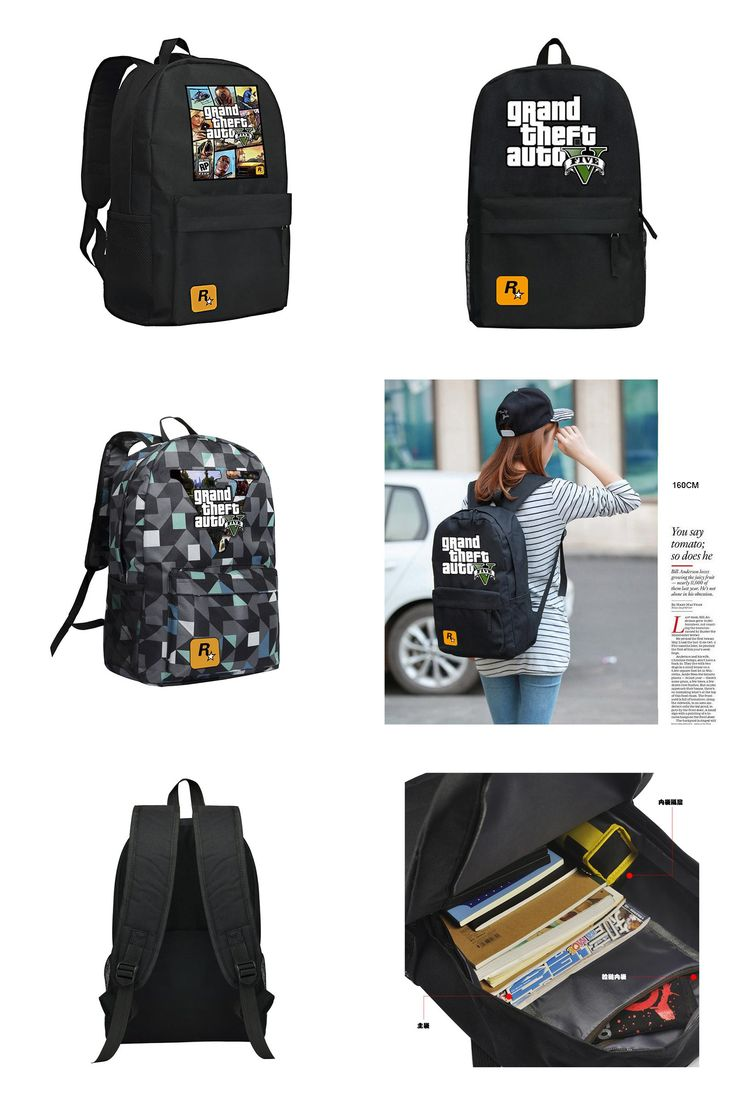 [Visit to Buy] GTA5 Backpack for Boys and Girls Grand Theft Auto V School Bag for Teenagers Mochila GTA 5 #Advertisement