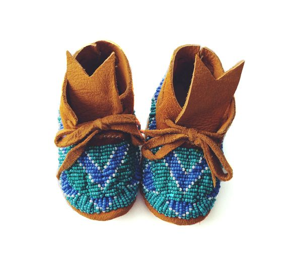 Image of Tan Suede Turquoise, White & Sea Foam Fully Beaded Baby Moccasins