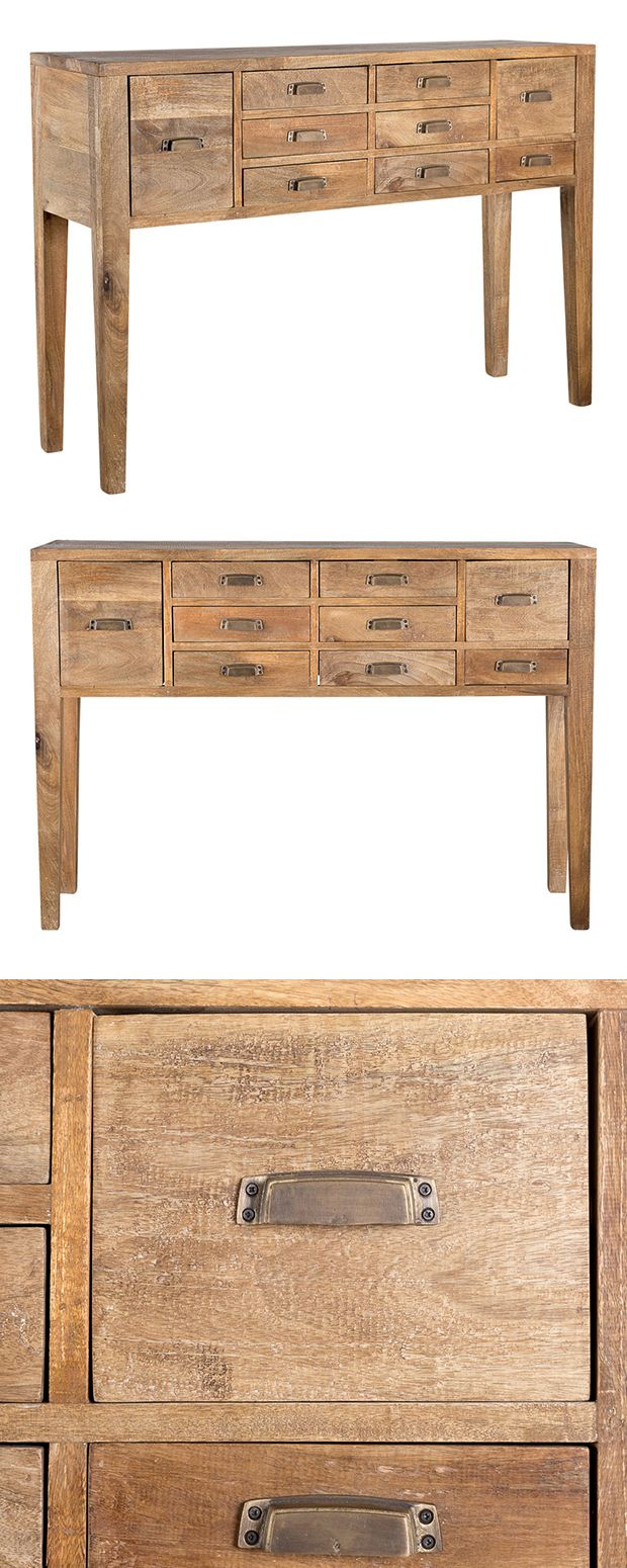 It's a rustic take on classic library-inspired cabinetry. The Cataloger Console Table is made from warmly finished plantation-cut mango wood, and decorated with label-style drawer pulls. With nine draw...  Find the Cataloger Console Table, as seen in the Chronicles of the Modern Explorer Collection at http://dotandbo.com/collections/chronicles-of-the-modern-explorer?utm_source=pinterest&utm_medium=organic&db_sku=118254