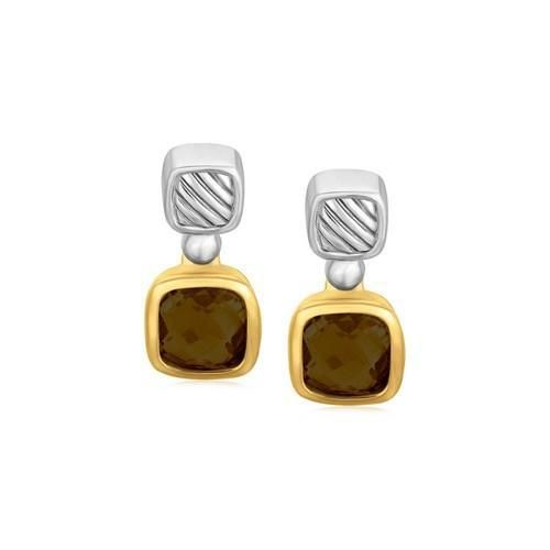 18K Yellow Gold and Sterling Silver Cushion Smokey Topaz Accented Drop Earrings P150-88664