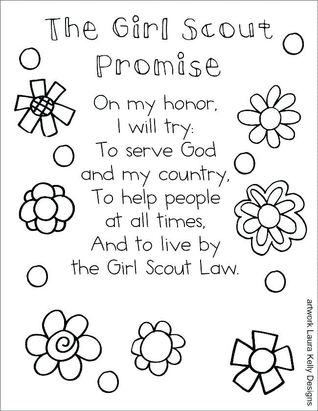 Girl Scout Law Coloring Pages Girl Girl Scout Daisy
