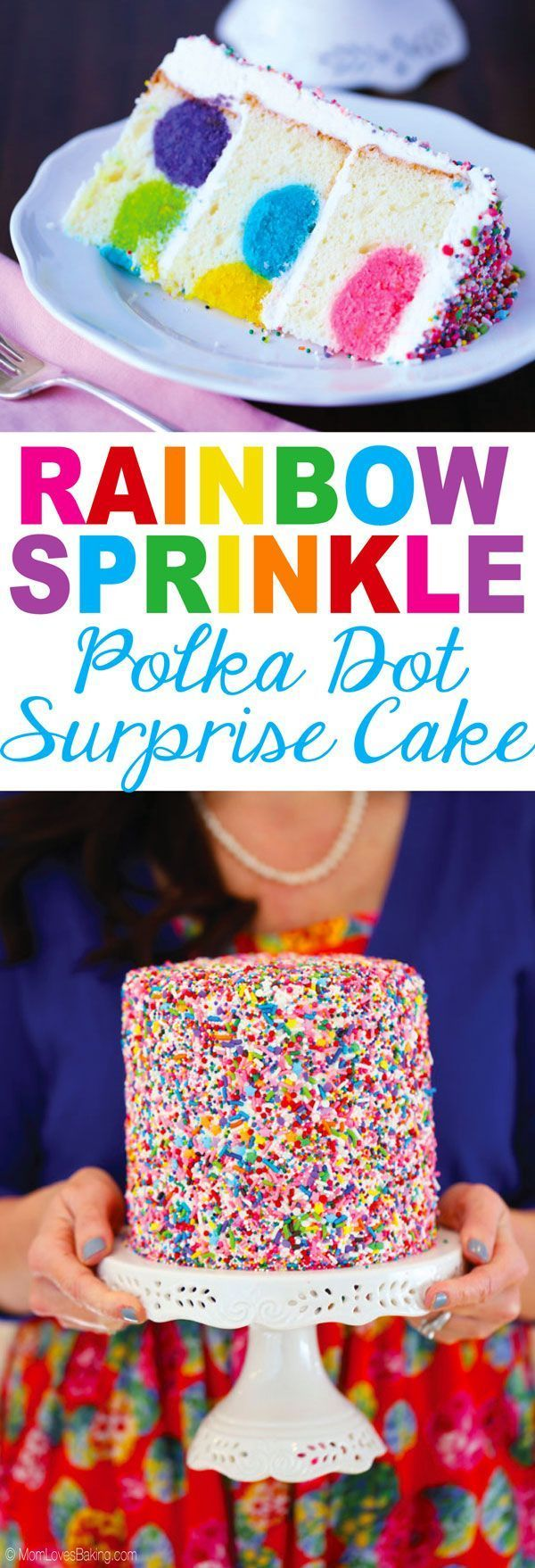Rainbow Sprinkles Polka Dot Surprise Cake is a white cake with colored cake balls inside, buttercream frosting on top and lots of sprinkles. Recipe on MomLovesBaking.com