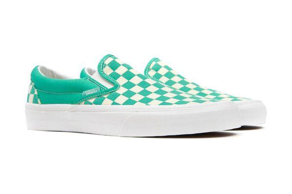 Vans Women's Checkerboard Slip-On - Aqua Green/White