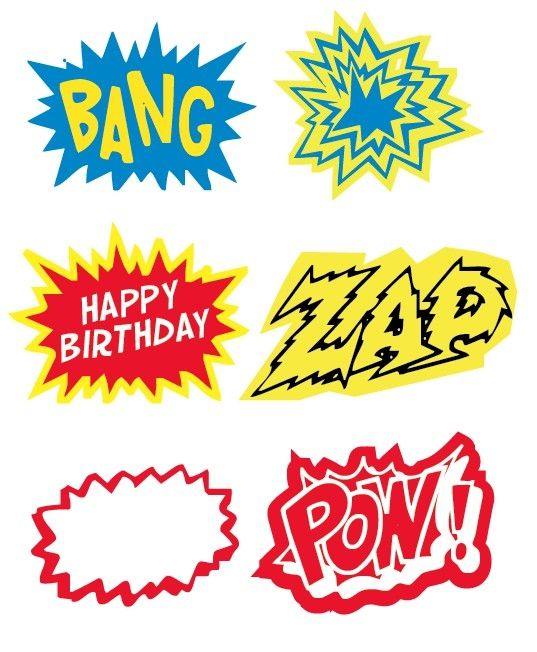 Great printables for super hero party. by MaryAnnK  Comic Book Super Heroes Party  For more party ideas visit: www.fireblossomcandle.com