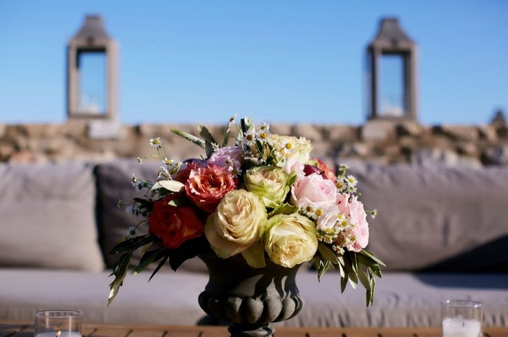 Gardens roses on rustic vases for a    sharp contrast!