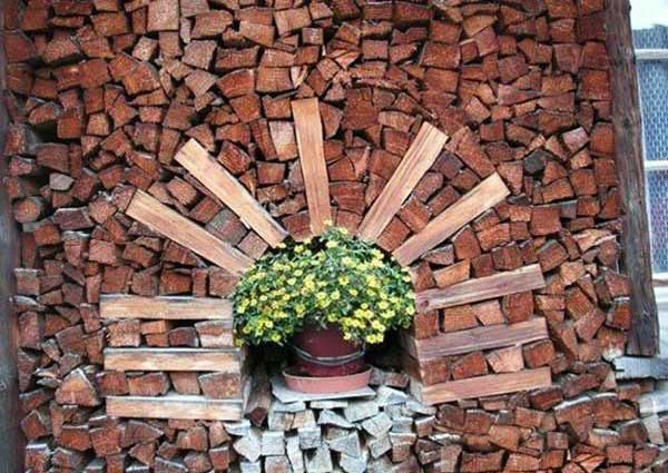 Best The Landscaping Of The Garden And The House Images On - Creative firewood storage ideas turning wood beautiful yard decorations