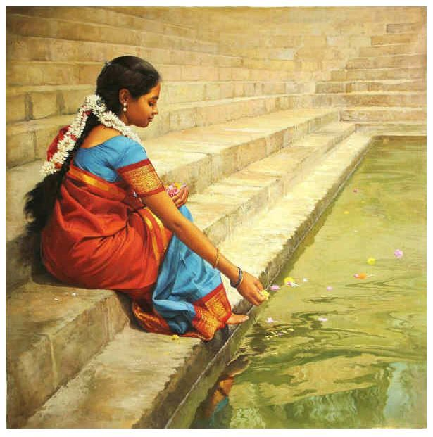 Tamil offering food to fish in temple water tank (Pond) - Painting by S. Elaiyaraja