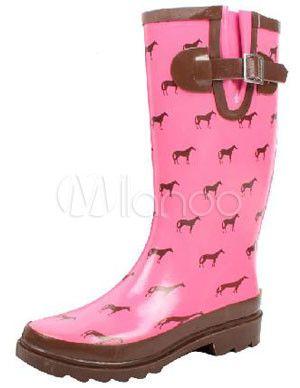 Rosa decoração fivela meados botas de chuva impermeável de bezerro comprimento…