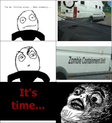 zombie, derp, shocked, road, drive, comic, rage, meme