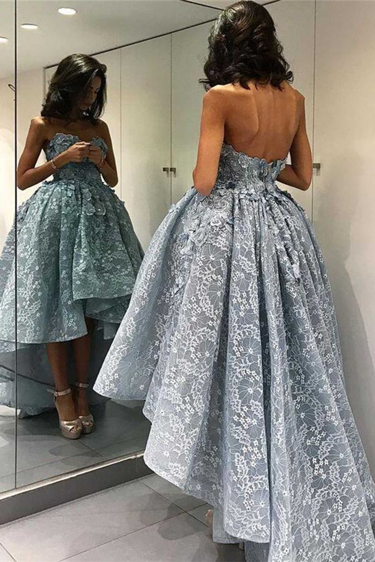 Lace prom dress, high low dress, cute blue lace sweetheart dress for prom 2017