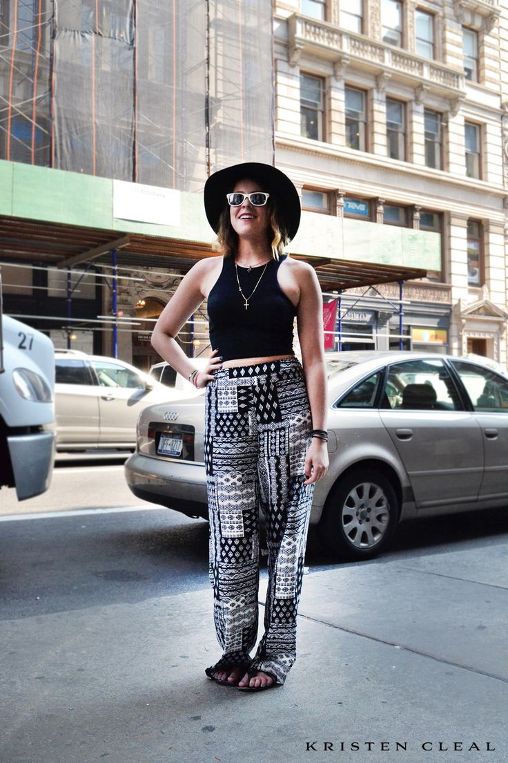 N Y C | S T R E E T S T Y L E # 5 >>>  DAY 5 - SPOTTED! Soho, Lower East Manhattan, New York City! The casual outdoor shopping look with fedora hat & sunnies snapped up in the lead up to New York Fashion Week 2014 #NYFW #MBFW