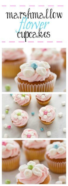 You can make these adorable marshmallow flower cupcake toppers with marshmallows and candy. You can use your favorite recipe or store bought cupcakes and add the marshmallow flower to the cupcake.