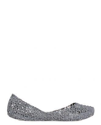Boutique La Femme - www.lafemmecorreggio.com Ballerina con glitter in men-flex (pvc) profumato. Soletta interna in tinta.  31512 Melissa campana Papel VII Grey Glitter