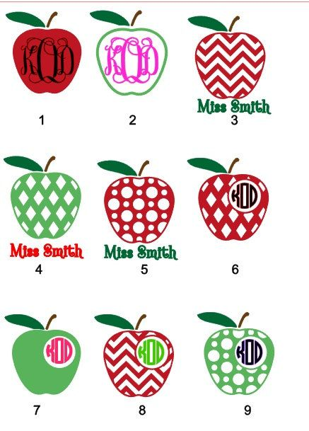 Apple Decal With Monogram Decal For Teachers By