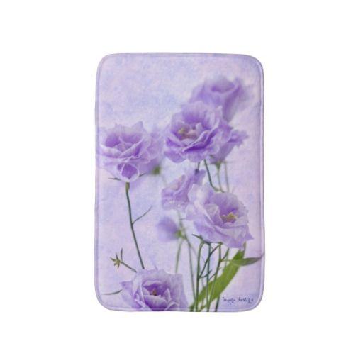 Purple Campanella Flowers Macro Bath Mats