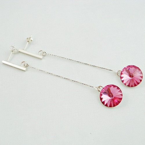 Party Earrings, Sterling Silver Earrings, Crystal Earrings, Swarovski Crystals, Rose Earrings, Party Time Elegant Jewelry, Rose Crystal by modotikon on Etsy