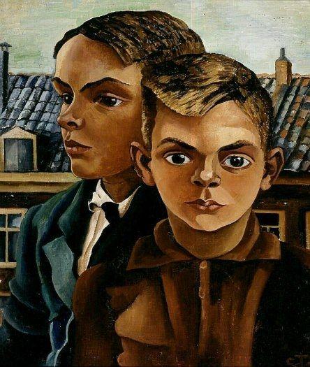 Portret van twee broers (Eddy en John Fernhout) - Charley Toorop (1891 - 1955). Toorop's full name was Annie Caroline Pontifex Fernhout-Toorop. She was a Dutch painter and lithographer.
