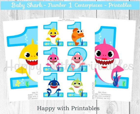 Baby Shark Number 1 Centerpieces Shark Number Centerpieces Baby Shark Centerpieces Age 1 Baby Shark Printables Baby Shark Party Shark Printables Shark Party Shark Themed Birthday Party