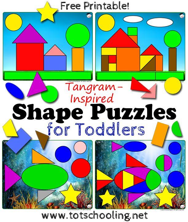 Tangram Shape Puzzles for Toddlers - Free printable // Puzzles de formas para niños pequeños - Imprimible gratis