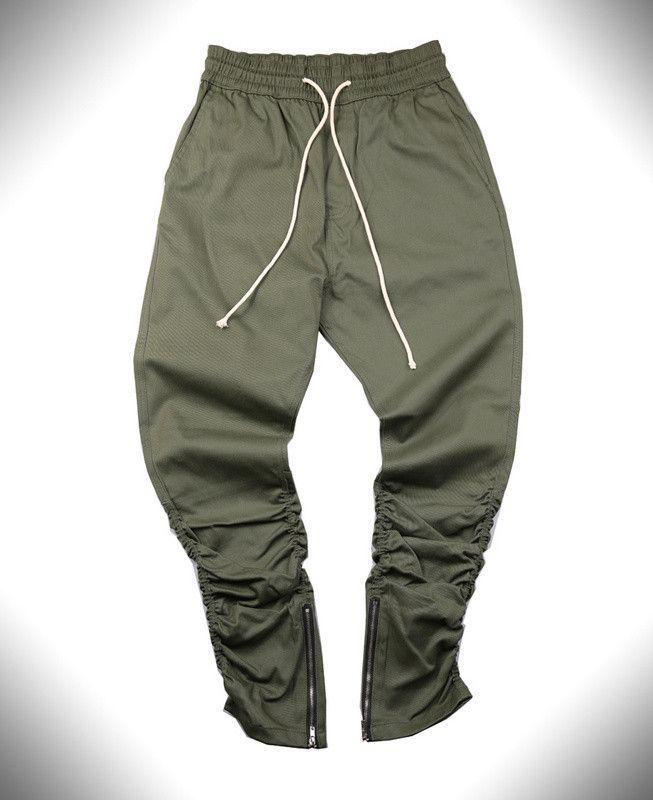 Side zipper men slim fit casual mens hip hop jogger biker pants
