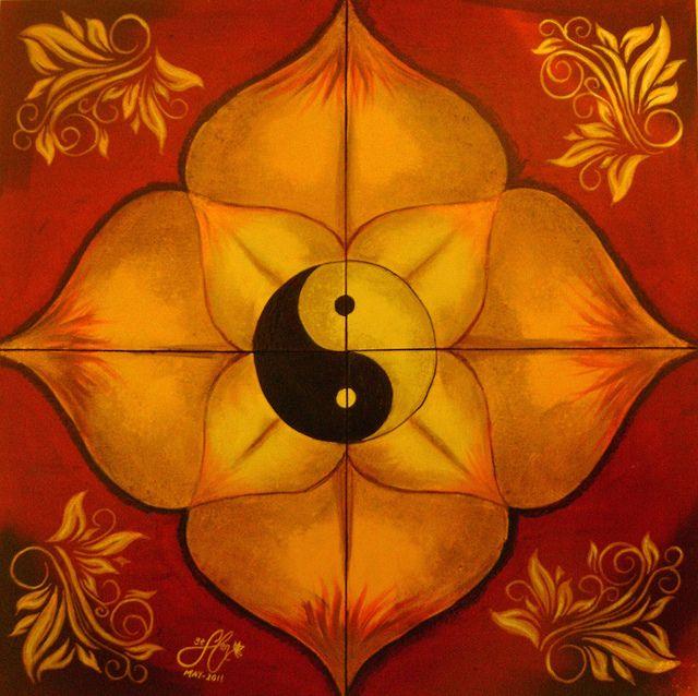 Yin y Yang Loto Mandala