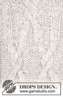 """Frostbite - Knitted DROPS jumper with cables and raglan in """"Cloud"""". Size: S - XXXL. - Free pattern by DROPS Design"""