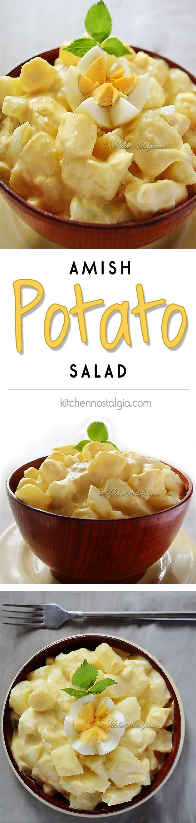 Amish Potato Salad Recipe - goes with practically anything, from picnics to barbecue to lunch to dinner - kitchennostalgia.com