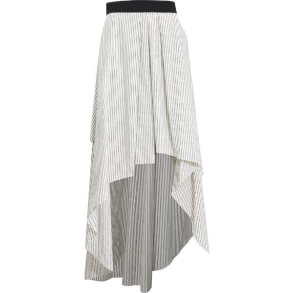 Brunello Cucinelli Striped High Low Skirt ($1,145) ❤ liked on Polyvore featuring skirts, navy striped skirt, navy striped maxi skirt, striped maxi skirt, navy stripe maxi skirt and stripe skirt