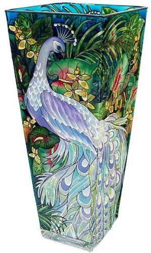 Amia 10-Inch Tall Hand-Painted Glass Vase Featuring a Peacock Design by Amia, http://www.amazon.com/dp/B003E2M644/ref=cm_sw_r_pi_dp_zYJwqb0J01PCV