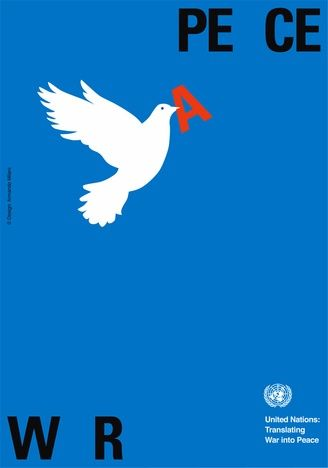 Social/Political Posters. Imagery of the White dove flying to the word 'peace' with the letter 'A ' in red taking away from the word behind 'war' represent change. The use of the dove symbolises peace , holiness, godliness and hope.