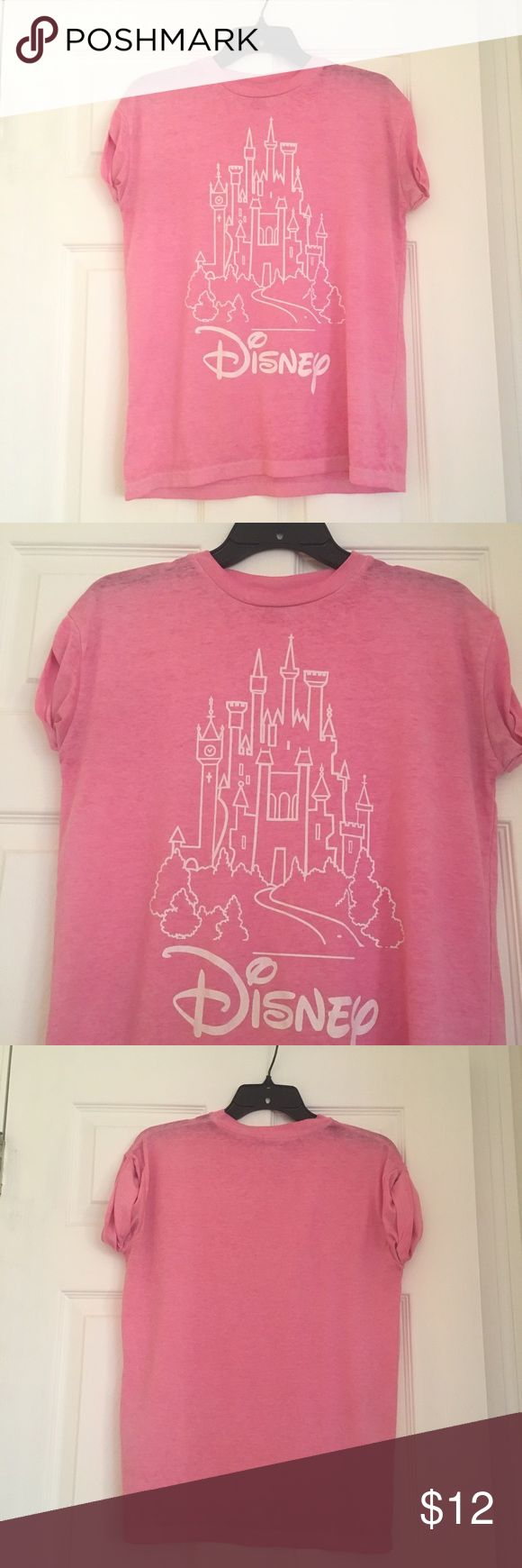 Pink disney tshirt Pink disney tshirt with rolled sleeves from Primark. In good condition. US size 4, UK size 8. Slightly oversized Disney Tops Tees - Short Sleeve