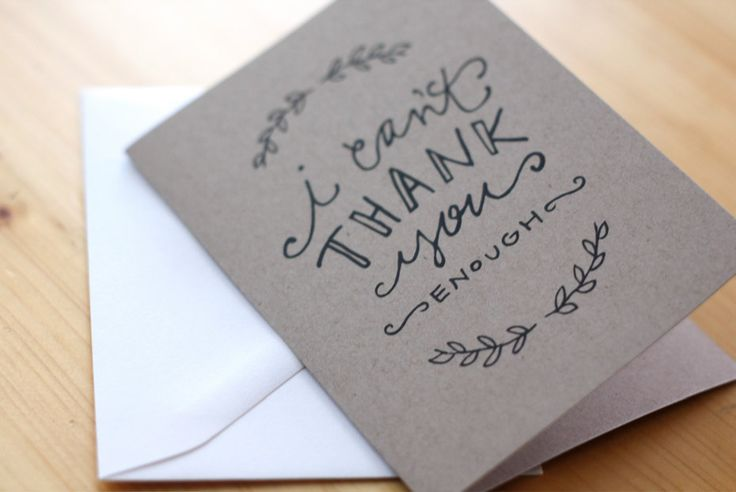 Hand-lettered Thank You cards, Kraft paper Thank You cards, Set of 8. $12.00, via Etsy.