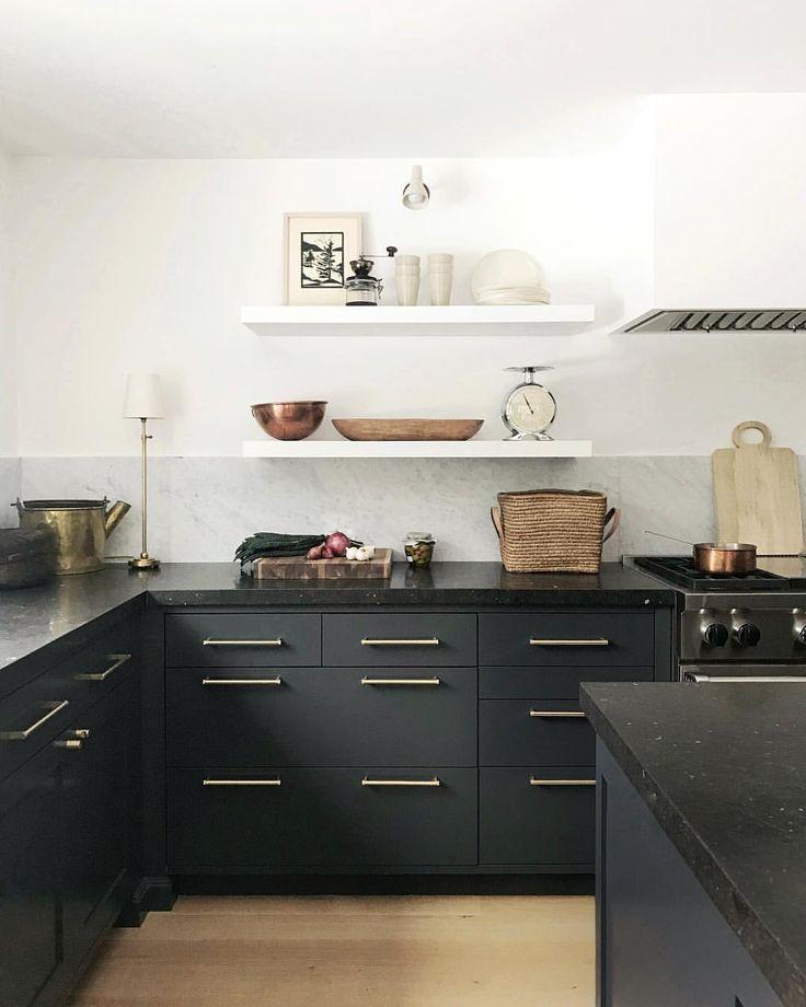 Black and white lake house kitchen