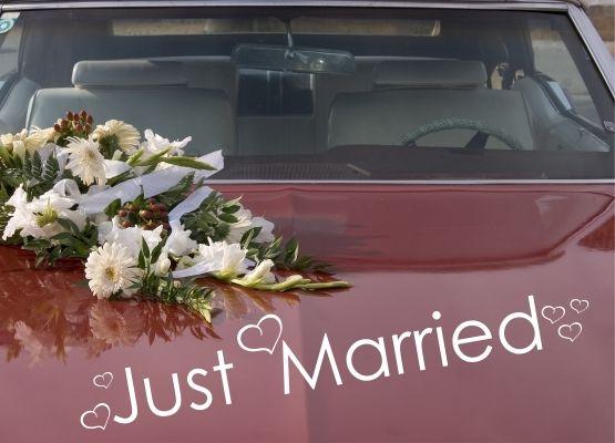 Hochzeitsdeko - Auto Aufkleber Hochzeit - Just Married mit Herzen - ein…