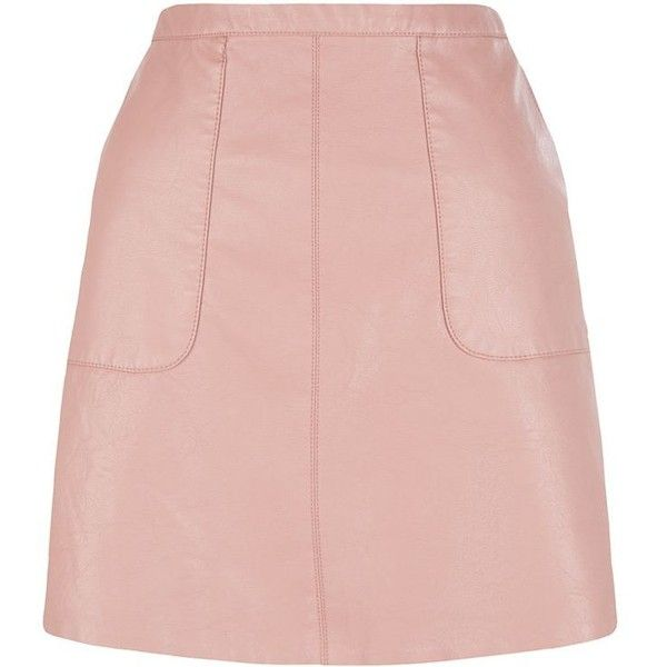 Shell Pink Leather-Look A-Line Skirt (145 HRK) ❤ liked on Polyvore featuring skirts, mini skirts, cream mini skirt, faux leather a line skirt, zipper skirt, cream skirt and pocket skirt