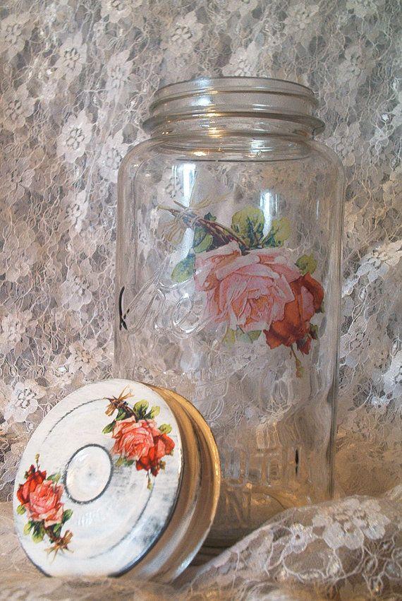 Vintage medio galón kerr conservas frutas Tarro blanco lavado de boca ancha cinc tapa shabby chic casa victoriana las rosas