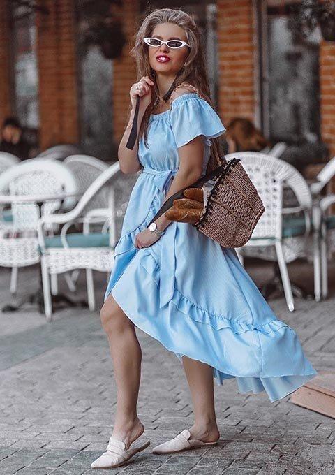 af65fd96ec0b  SHEIN  Ruffle Trim  Overlap  Hem  Striped  Bardot  Dress  2018  Summer  Long  Dresses Off The Shoulder  Tie  Waist A Line  Asymmetrical  Dress