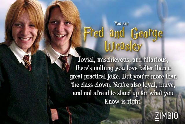 I'm Fred and George Weasley! Which secondary 'Harry Potter' character are you?null - Quiz