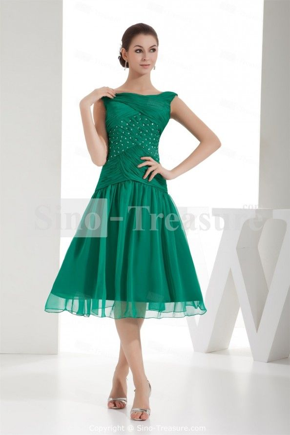 Grass Green V neck A line Capped Sleeves Tea Length Chiffon Mother of the Bride Dress : Grass Green V Neck A Line Capped Sleeves Tea Length Chiffon Mother Of The Bride Dress 20566 63901