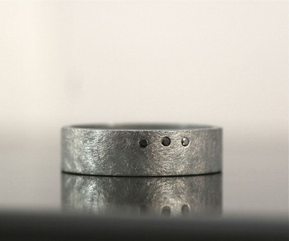 Rounded Square Ring Black Diamond Ring Roughed Up Finish Wide Band Ring