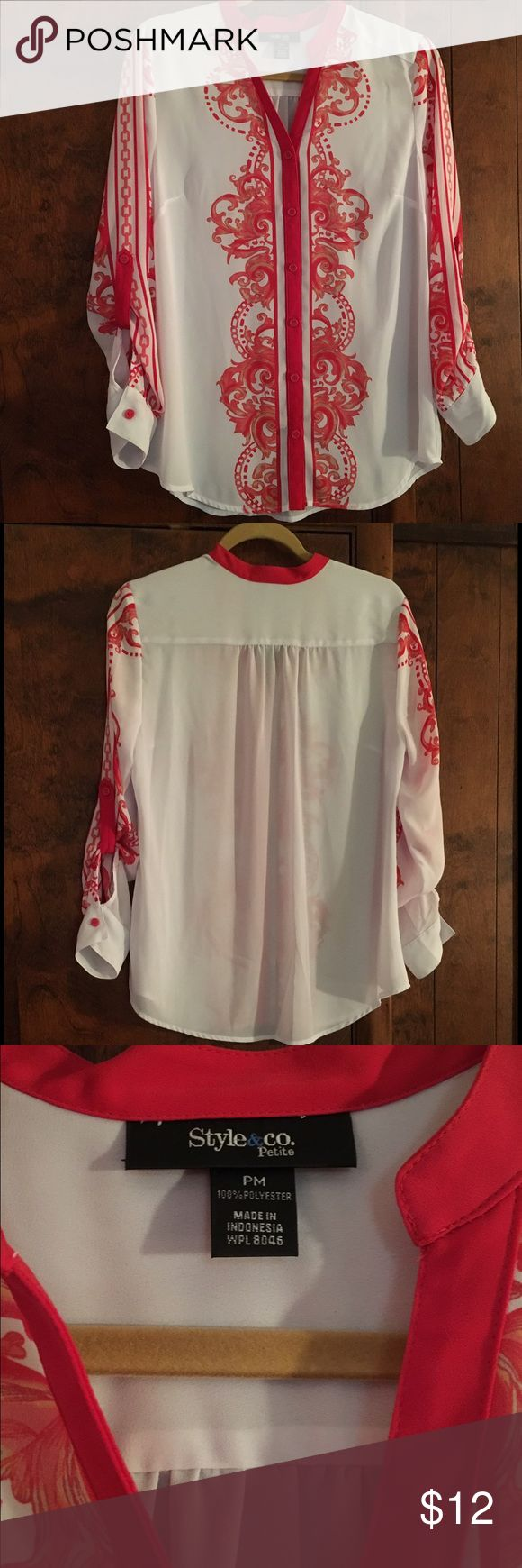 """Style & Company Blouse Petites Size Medium Style & Company Petites Size Medium Button Front Blouse with Roll Tabs.  Armpit to Armpit 20"""" Sleeve Length 22.5"""" From Collar to Bottom of Hem 27"""". Style & Co Tops Blouses"""