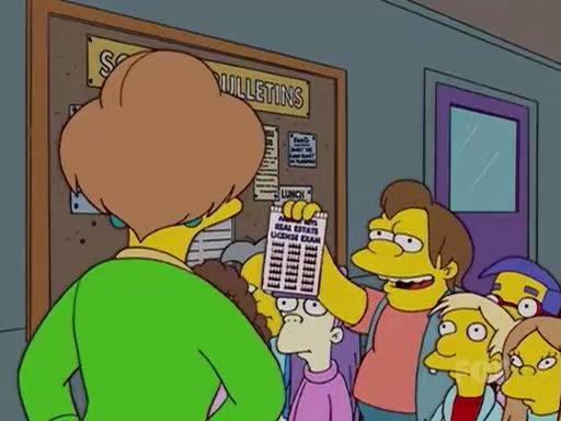 Nelson giving Mrs Krabappel real estate licence test answers