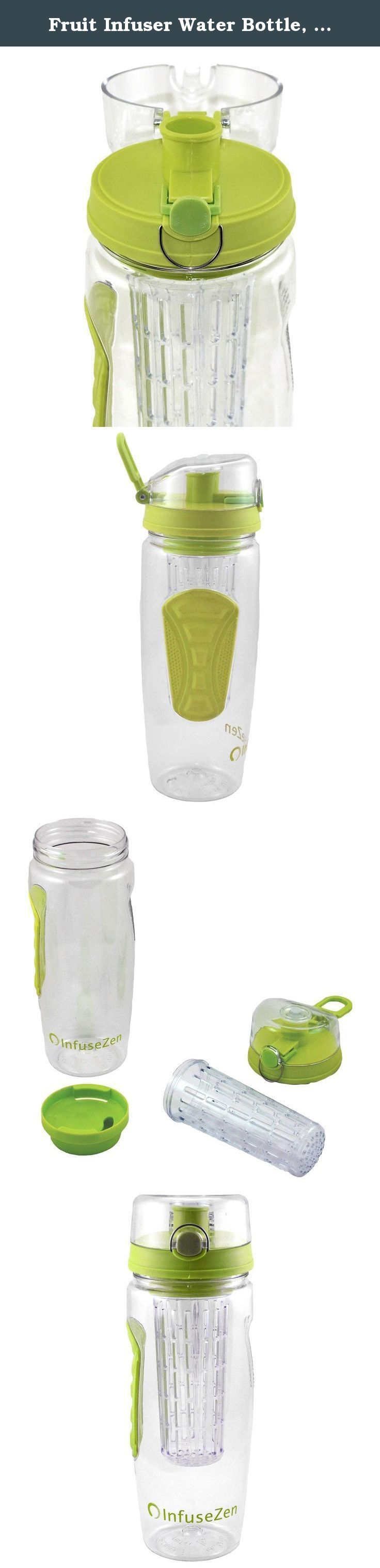 Fruit Infuser Water Bottle, 32oz Large BPA Free Infusion Bottle Available in Black & Green, Water Bottle for Sports, Yoga, Weight Loss and Healthy Living, Best Reusable Tritan Plastic Water Bottle with Flip Top and Handle, Shatterproof & Ecofriendly (green). Our shatter proof, BPA free fruit infuser water bottle is perfect for life on the go! The large 32oz bottle helps you get your recommended daily water intake fast, carry it with you wherever you go. It fits in most car cup holders and...
