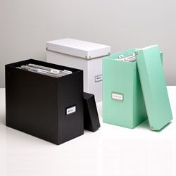 Deliciously narrow filing boxes. This would be great between a desk and a wall or other small space. Frisco File Box