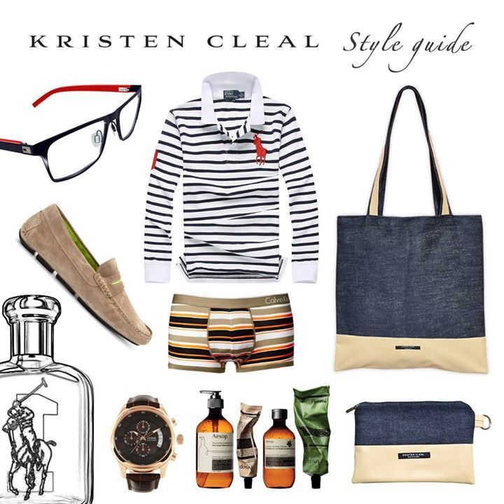 Men's Style Guide >>> Nautical Tote, Kristen Cleal $65. Nautical Case, Kristen Cleal $30. Roadster Driver Loafer tan/lime, Manolo Blahnik $604. Skincare Products, Aesop Skincare. Polo Big Pony No.1. EDT, Ralph Lauren $125. Chronograph Dial Watch, GUESS $245. CK Stripe Trunk, ASOS (Calvin Klein) $21.79. Long Sleeve Stripe Polo, Ralph Lauren Fragrances $220. Tommy Hilfiger Glasses, Specsavers $99.   All Kristen Cleal Accessories feat. avail @ www.kristencleal.com.au - KCD xx