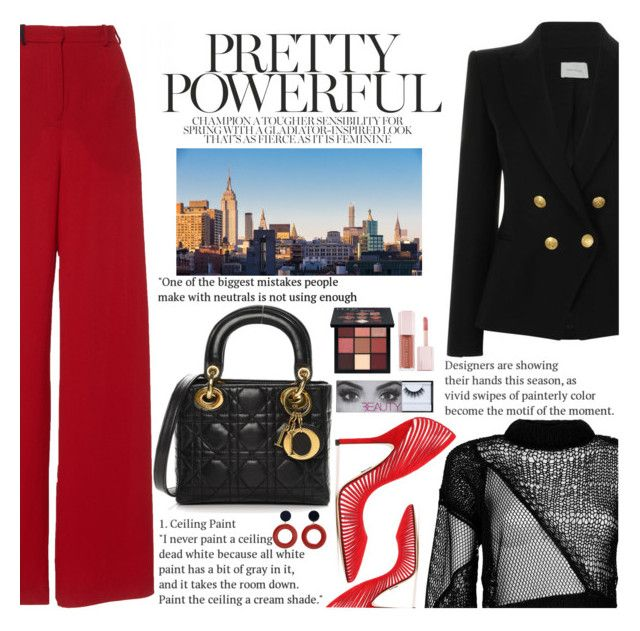 """""""Untitled #2978"""" by anarita11 on Polyvore featuring Pierre Balmain, Helmut Lang, Paul Andrew, Christian Dior, MANGO, Huda Beauty and Puma"""