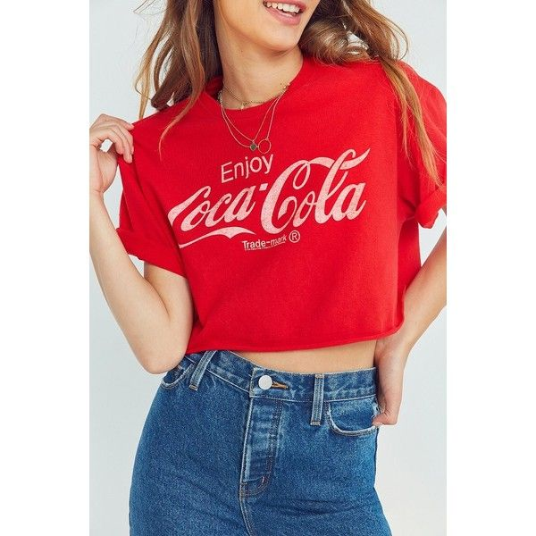 Junk Food Coca-Cola Cropped Tee ($39) ❤ liked on Polyvore featuring tops, t-shirts, red tee, short sleeve crew neck t shirt, crew neck crop top, short sleeve tee and crop tee