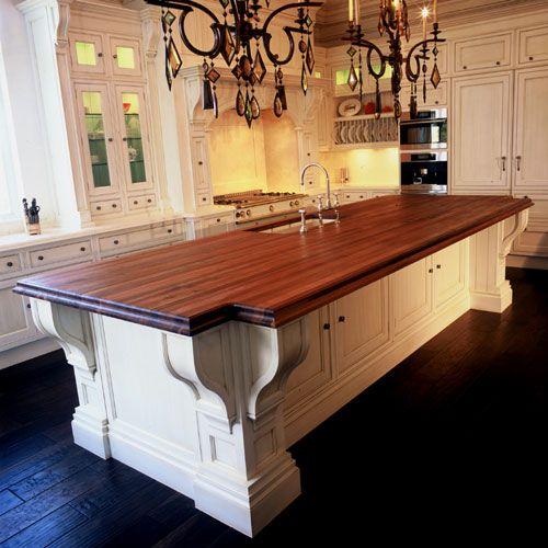 White Kitchen Island With Walnut Butcher Block Countertop : Walnut-Butcher-Block-Island-Top-With-Undermount-Sink Kitchens Pinterest A well ...