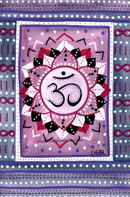 Dessin aquarelle, méditation chakra couronne, violet gris blanc : Peintures par art-monize31